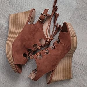 Report Faux Suede Tassel Lace Up Wedges